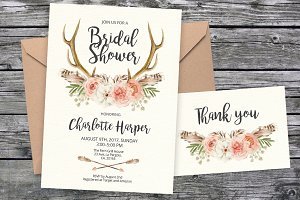 Tribal Bridal invitation template 15
