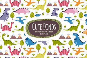 Cute Dinos: pattern & labels