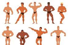 Mens physics bodybuilders vector