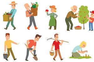 Garden harvest people vector set