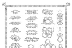 Knots sea vector set