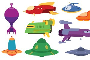 UFO spaceship vector set