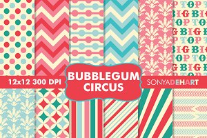 Bubblegum Circus Digital Papers