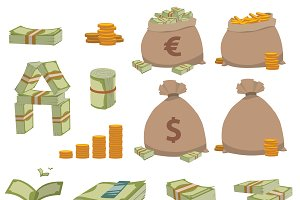 Money symbols vector set