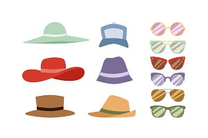 Hats and sunglasses vector set
