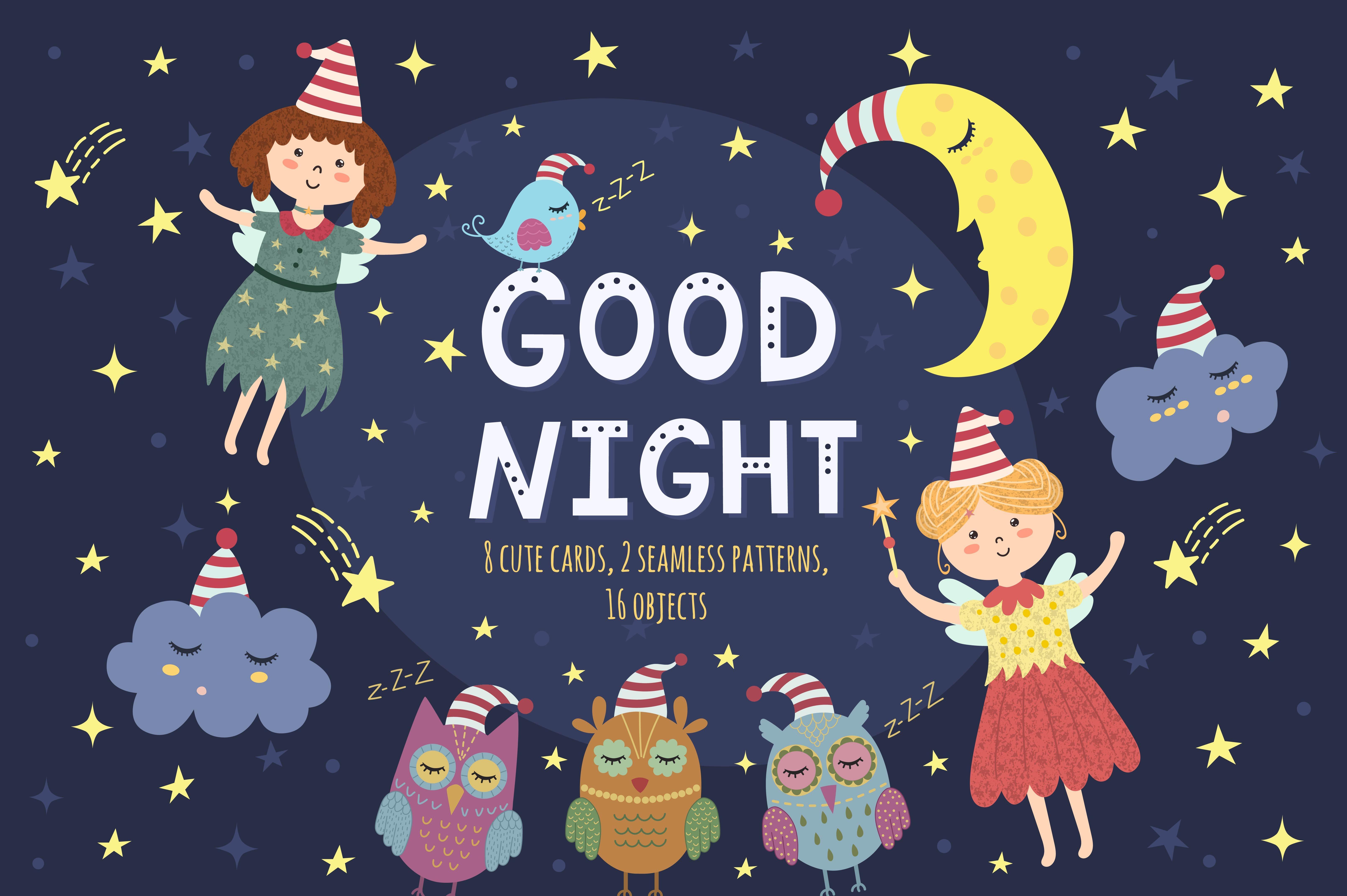 Good Night Vol 1 Patterns Cards Illustrations Creative Market