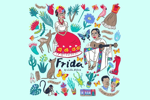 Frida Bright Vector EPS Clipart ~ Illustrations on Creative Market