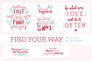 Motivational PNG Clip Art Set