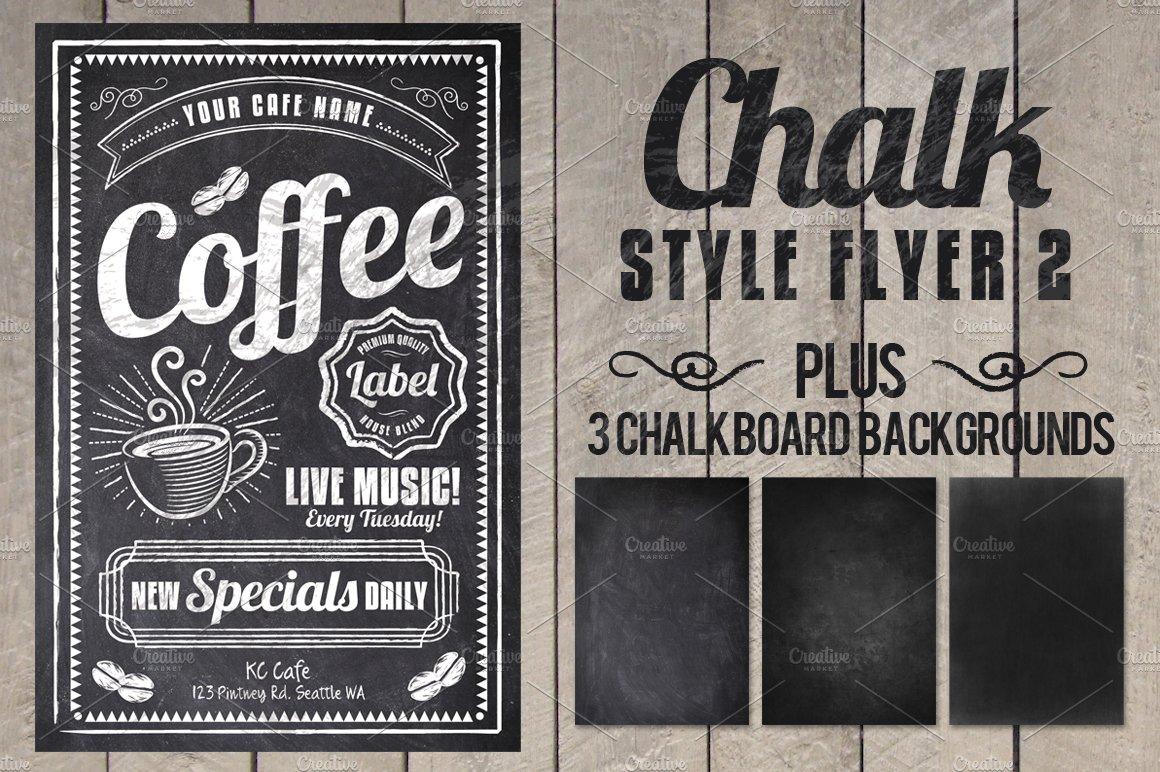 chalk flyer flyer templates creative market. Black Bedroom Furniture Sets. Home Design Ideas