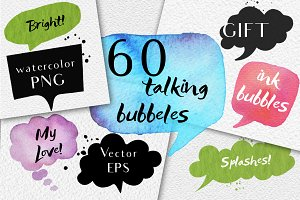 60 speech bubbles!watercolor+EPS