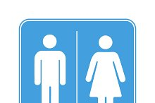 Men and women toilet WC sign