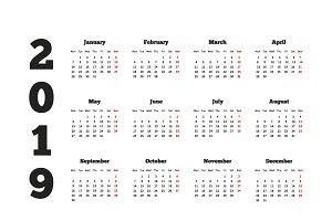 Calendar on 2019 year