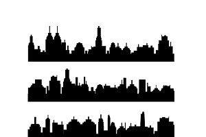 Set of different city silhouettes