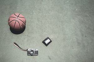 Basketball, Film Camera and a Wallet