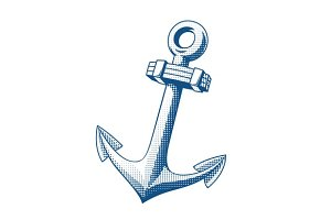 Ship anchor. Tattoo.