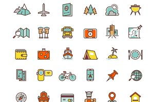Tourism & transport line flat icons