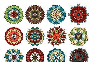 Spring doodle flower set