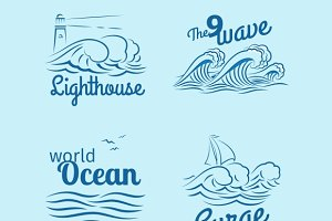 Ocean wave logo set