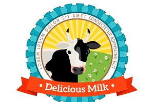 Fresh and natural milk logo