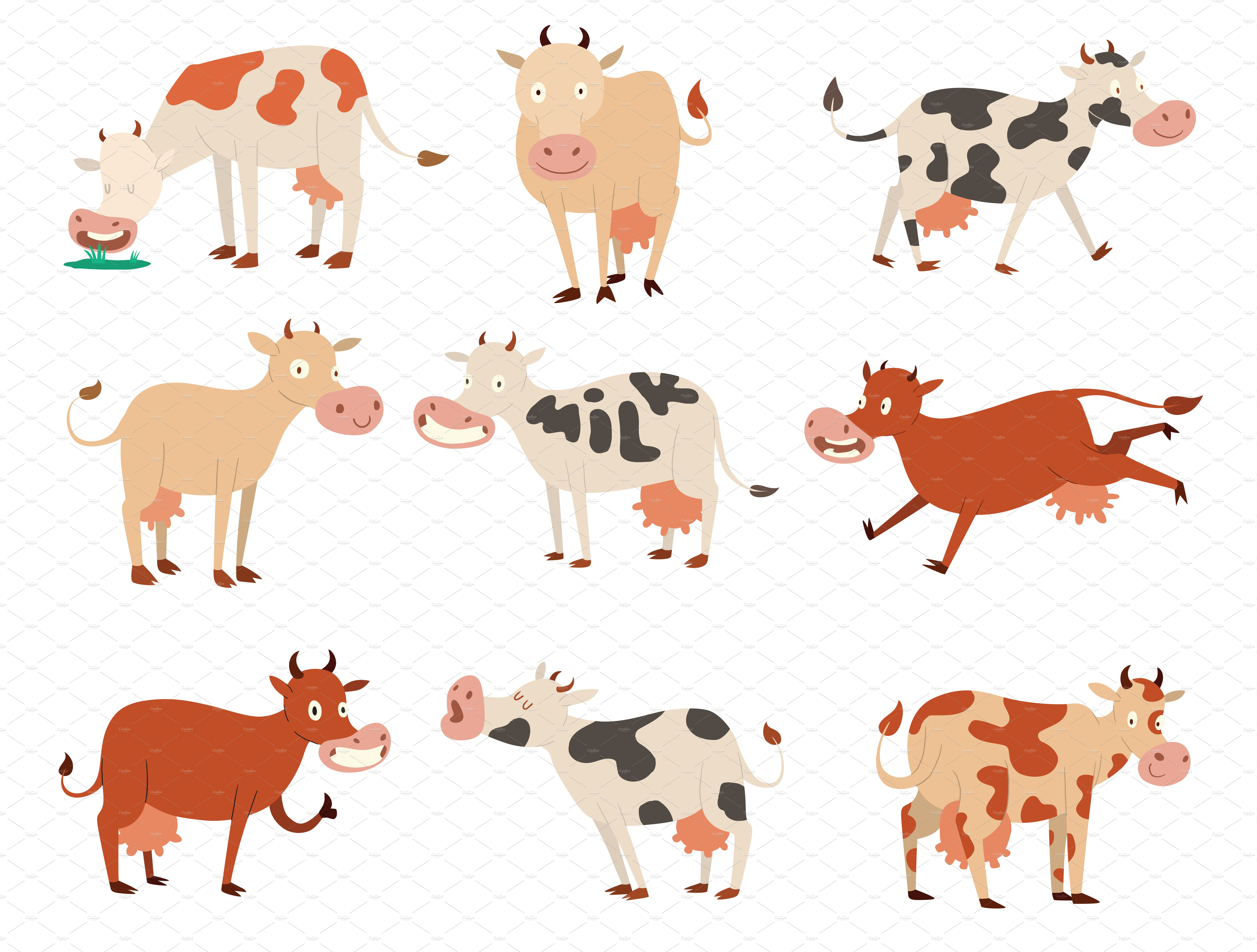 Cartoon cow characters ~ Illustrations ~ Creative Market