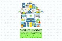 Smart home technologies flat set