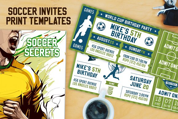 vector soccer party invites invitation templates creative market