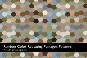 Random Color Pentagon Patterns