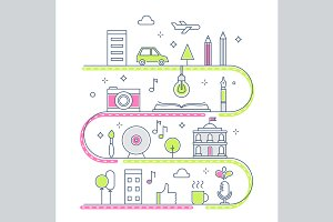 Creative Town Line Illustration