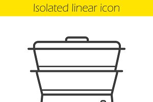 Steam cooker linear icon. Vector