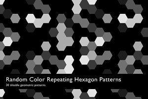 Random Color Hexagon Patterns