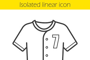 Baseball t-shirt linear icon. Vector