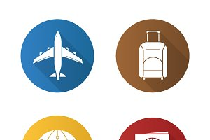 Air travel. 4 icons. Vector