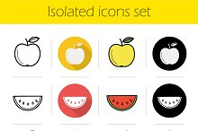 Fruit. 12 icons set. Vector