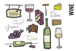 Wine Doodle Clipart PNG