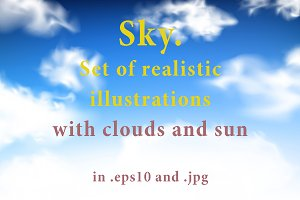 Blue sky - realistic illustrations