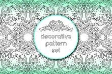 Decorative doodle pattern set