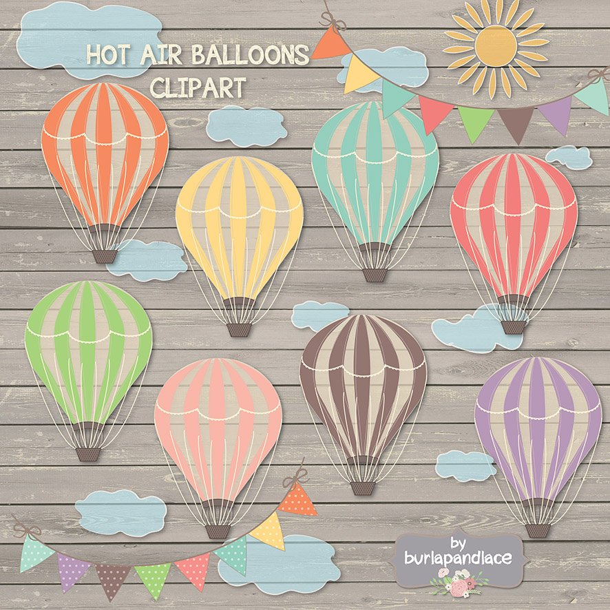 Hot air balloon clipart ~ Illustrations ~ Creative Market