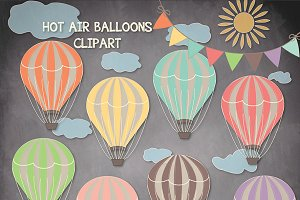 Chalkboard/wood Hot air balloons