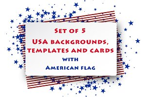 Cards & templates with USA flag