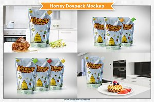 Honey Doypack Bag Mockup