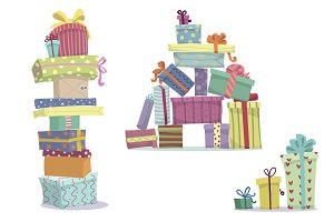 Heaps of presents, vector