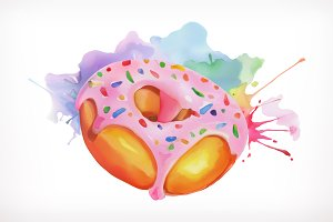 Donut with pink icing