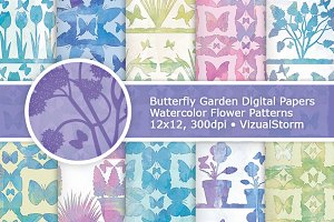 Watercolor Butterfly Garden Patterns