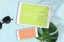 Mockup . iPhone & iPad Summer