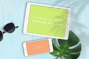 Mockup . iPhone & iPad Summer