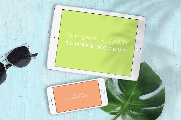 mockup iphone ipad summer product mockups - Ipad And Iphone Mockup
