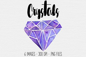 Purple Watercolor Crystal Clipart