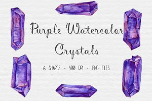 Watercolor Purple Crystal Clipart