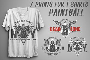 Set of prints for t shirts Paintball