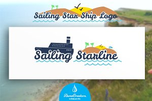 Sailing Star Ship Logo